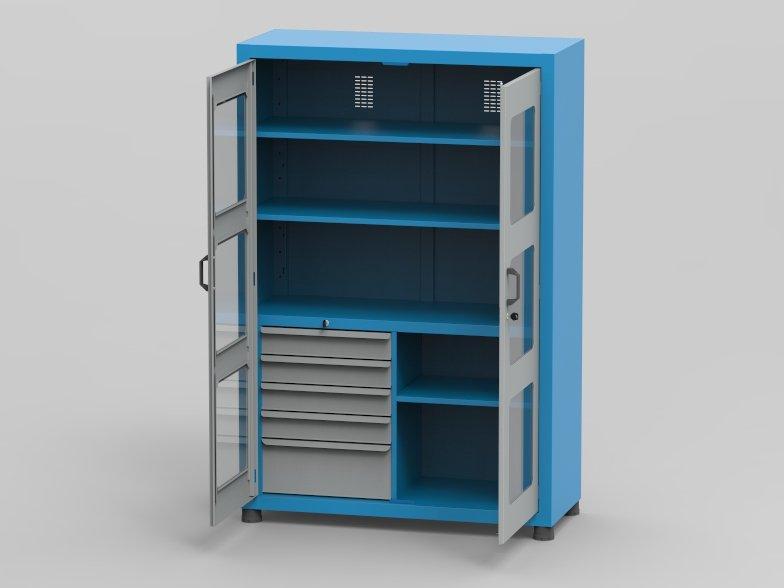 armario-industrial/arm-007-2-prateleiras-regulaveis-portas-com-visor-5-gavetas