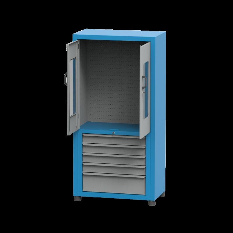 ARM022A – Armário Para Ferramentas Médio com 5 Gavetas, Painel Perfurado e Visor de Acrílico