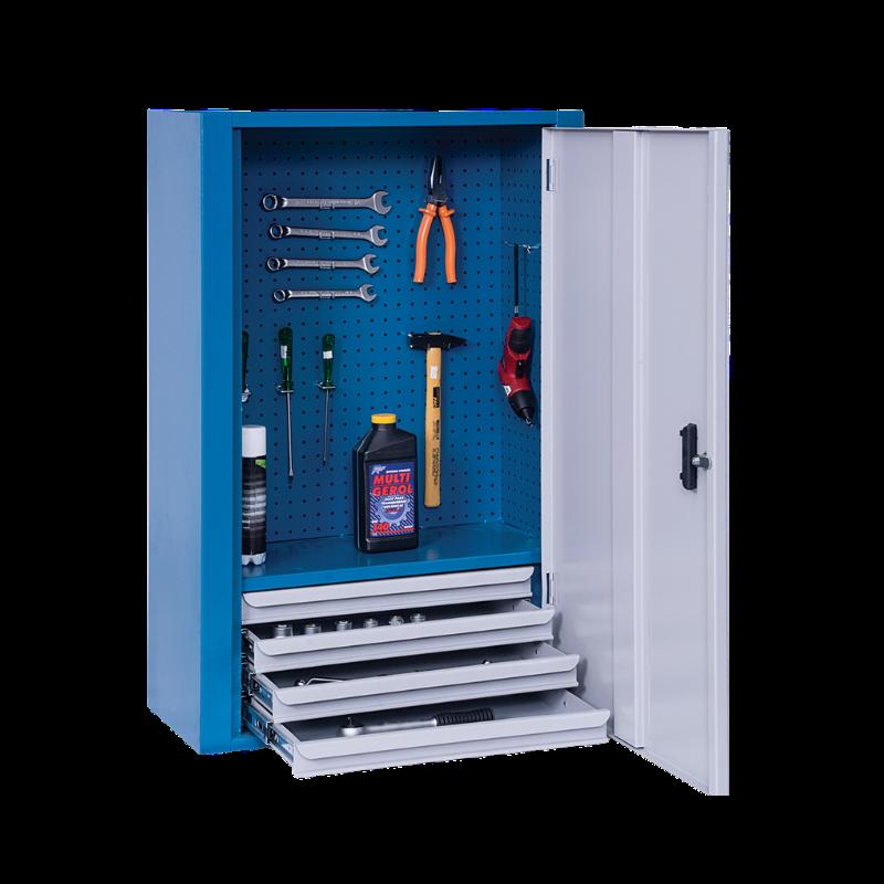 ARM025 – Armário Para Ferramentas de Parede com 4 Gavetas e Painel Perfurado