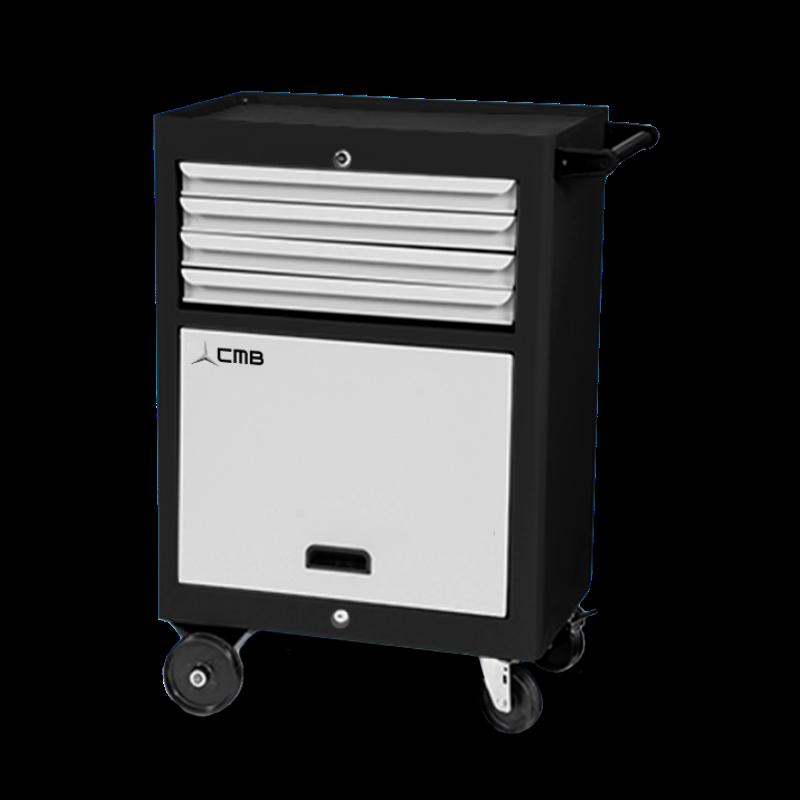 CMB657 – Carrinho para Ferramenta com 1 Bandeja, Porta Retrátil e 4 Gavetas