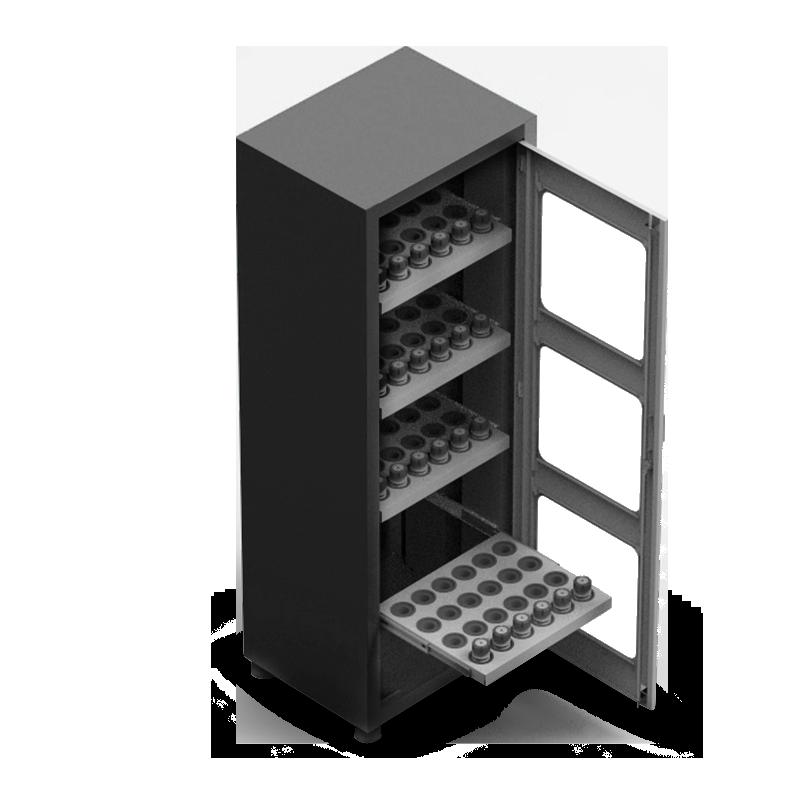 ARM057V – Armário Porta Cone ISO30 para 96 peças com 4 prateleiras e Visor de Vidro