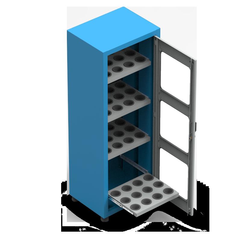 ARM061V – Armário Porta Cone ISO50 para 48 peças com 4 prateleiras e Visor de Vidro