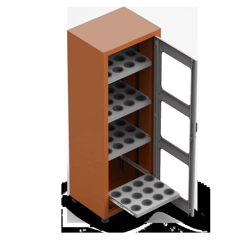 ARM061A – Armário Porta Cone ISO50 para 48 peças com 4 prateleiras e Visor Acrílico